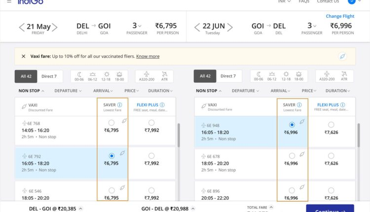Flight booking discount for vaccinated passengers