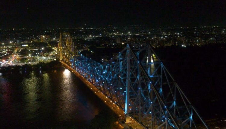 Howrah Bridge dazzles in Olympic colours.