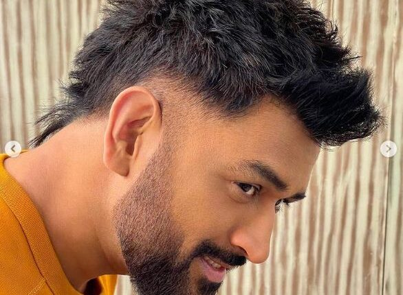 dhoni new hair style