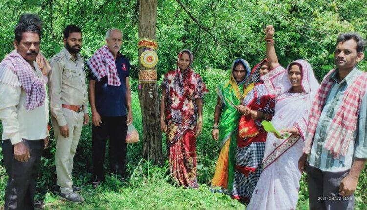 tying rakhi to trees