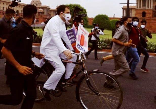 rahul gandhi bicycle