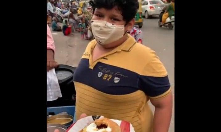 boy selling dahi kachori