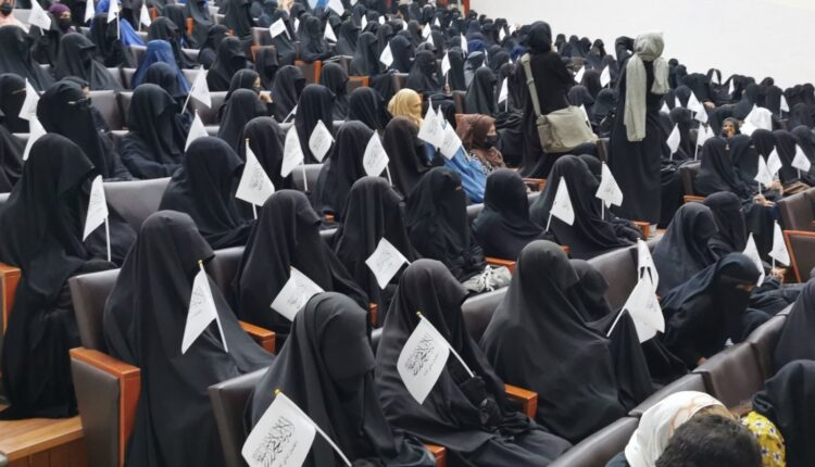 Veiled Afghan women rally in support of Taliban in Kabul