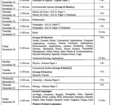 class X date sheet