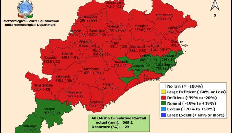 rainfall deficient in odisha