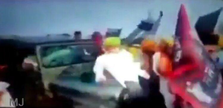 car runs over farmers